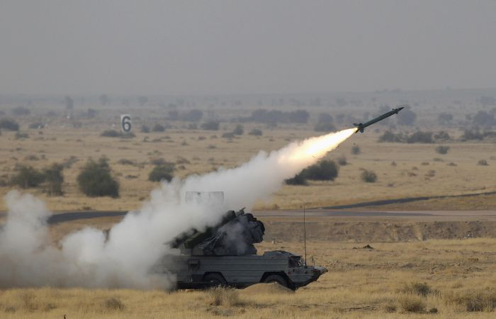 OSA-AKM surface-to-air missile launcher fires a missile on target during Indian Air Force fire power demonstration exercise