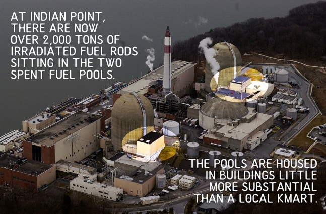 Aerial view of the Indian Point nuclear power plant along th